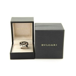 Bvlgari Onyx Spinning Optical 18k White Gold & Stainless Steel Ring