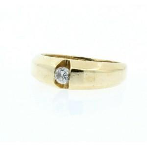Estate 14k Yellow gold .20ct Round Diamond Men's Ring Size 7.75