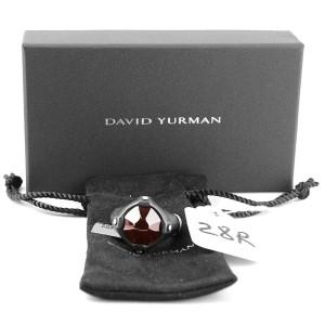 DAVID YURMAN ST. SILVER STEEL ANVIL SIGNET GARNET RING SIZE 10
