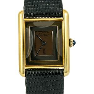 Cartier Must De Tank Women Watch Mechanical Hand Wind 925 Gold Plated 23mm