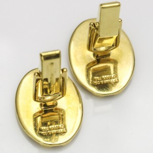 Tiffany & Co. 18k Yellow Gold Groove Oval Cuff Links