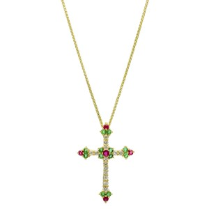 .70 Carat 14k Yellow Gold Ruby Emerald Diamond Cross Pendant Necklace