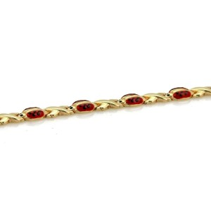 Enamel Ladybug X Design 14k Yellow Gold Link Bracelet