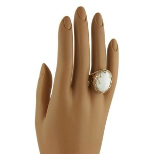 Lalla & Rossana White Agate 18k Rose Gold Dome Ring
