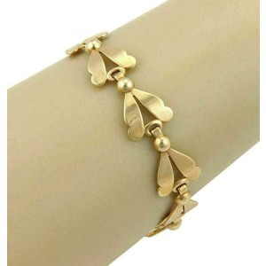 Leaf & Bead 14k Yellow Gold Link Bracelet