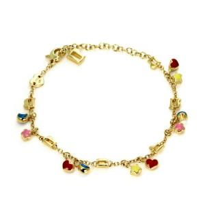 Pasquale Bruni Enamel Multi-Charms 18k Yellow Gold Chain Bracelet