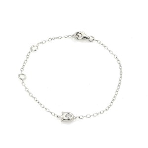 Cartier Diamond Tulip Floral Charm 18k White Gold Chain Bracelet