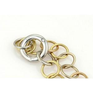 Pomellato Lucciole Diamond Circle 18k Tri Gold Link Bracelet