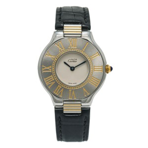 Cartier Must De 21 W1000944 Women's Quartz Watch SS Cream Dial 31mm