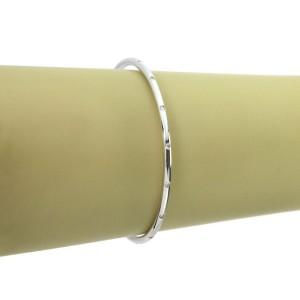 Tiffany & Co. Slim Etoile Diamond 18k White Gold 3mm Dome Bangle