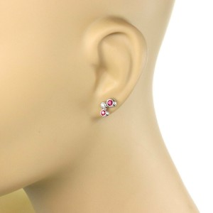 Tiffany & Co. Bubble Diamond Ruby Platinum 3 Stone Stud Earrings