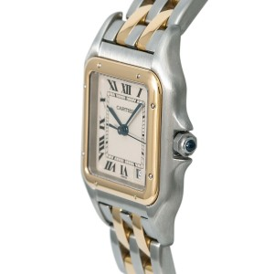 Cartier Panthere 187949 Ladies Quartz Cream Dial Watch Two Tone 18K 27 mm