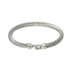"""David Yurman 18K Yellow Gold 925 Sterling Silver Cable Bangle Bracelet 6.5"""""""