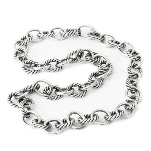 DAVID YURMAN 925 Sterling Silver Cable Necklace 48.6 Grams 16""