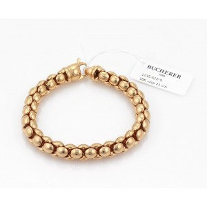 Bucherer Beaded Flex Tube Link 18k Pink Gold Bracelet