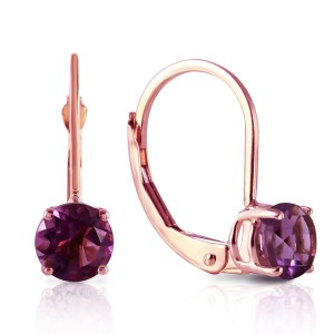 1.2 CTW 14K Solid Rose Gold Solitaire Amethyst Leverback Earrings