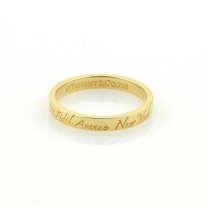 67ec8780ec273 Tiffany & Co. Notes 18k Yellow Gold 3mm Wide Wedding Band Ring Size 5.5