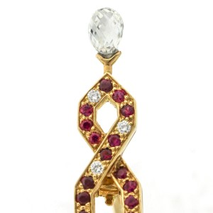 Boucheron 18k Gold Eiffel Tower Ruby Diamond Brooch