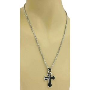 Stephen Webster Rayman Sterling Onyx Cross Pendant & Box Chain