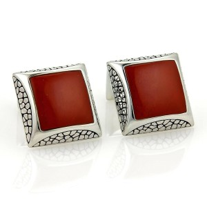 Stephen Webster Sterling & Red Jasper Gem Square Cufflinks