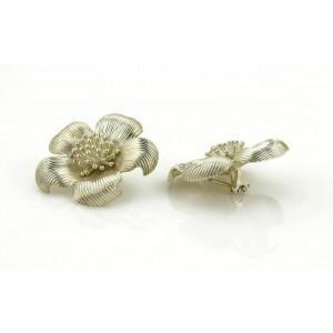 Tiffany & Co. Vintage Sterling Silver Large Dogwood Flower Clip On Earrings