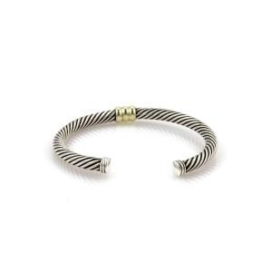 David Yurman Single Bar Cable Sterling & 14k Yellow Gold Cuff Bangle Bracelet