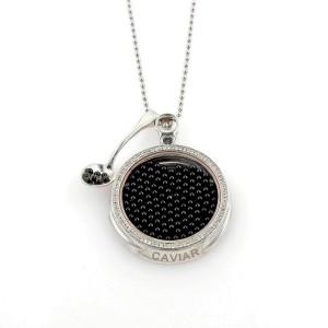 Roberto Coin Caviar Diamonds & Onyx 18k White Gold Pendant Necklace