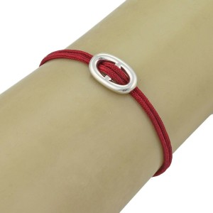 Hermes Chaine d'Ancre Sterling Silver H Charm Red Cord Bracelet