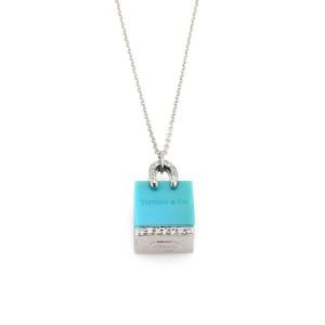 Tiffany & Co. Diamond Platinum Turquoise Shopping Bag Pendant