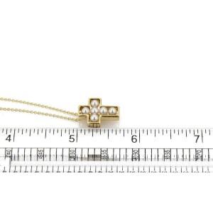 Mikimoto Akoya Pearls 18k Yellow Gold Cross Pendant