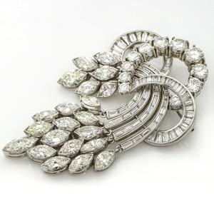 19.24 Carat Platinum 1950s Aria Diamond Brooch