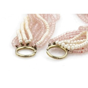 Tiffany & Co. 11 Strand Pearls & Pink Quartz Sterling Silver Necklace
