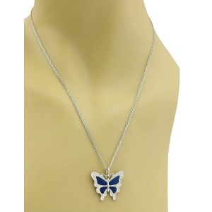 Diamond & Blue Enamel Butterfly & Double Chain 18k White Gold Necklace