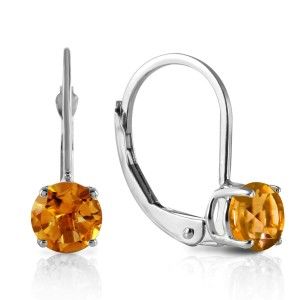 1.2 CTW 14K Solid White Gold Mending Fences Citrine Earrings