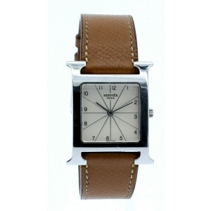 Hermes H Hour HH1.710 Stainless Steel Brown Leather Band Mens Watch