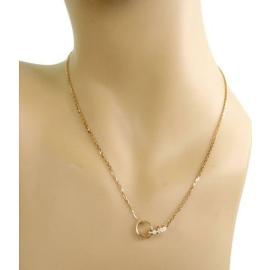 Cartier Baby Love Diamond 18k Yellow Gold Double Ring Necklace w/Certificate