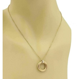 Cartier Trinity Diamond 18k Rose Gold Triple Ring Pendant & Chain w/Paper