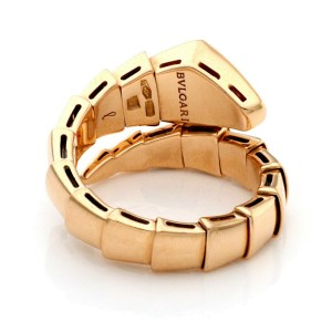 Bvlgari Serpenti Diamond 18k Rose Gold Bypass Flex Band Ring Size 7