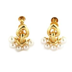 Dior Pearls Fancy Screw Back 18k Yellow Gold Earrings