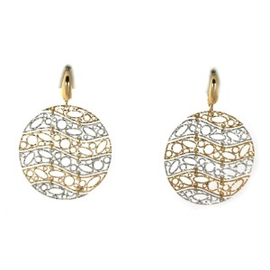 Diamond Cut Illusion Open Design 14k Two Tone Gold Round Dangle Earrings