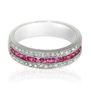 0.77 CT Pink Sapphire & 0.28 CT Diamonds 18K Gold Wedding Band Ring Size 6-7.5