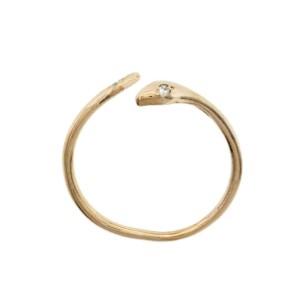 Handmade 14K Rose Gold Diamond Snake Band Ring Adjustable Size 5-8