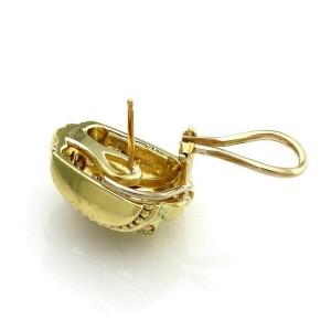 Judith Ripka Diamond  18k Yellow Gold Curb Link Style Huggie Earrings