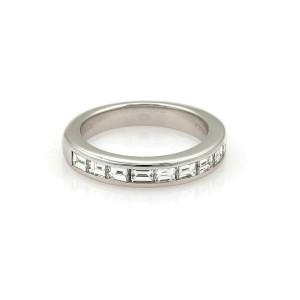 Tiffany & Co. Asscher Cut Diamond 3.5mm Wide Platinum Band Ring