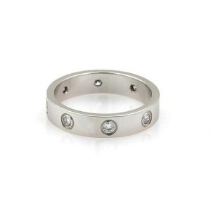Cartier Mini Love 7 Diamond 18k White Gold Band Ring Size 51 w/Cert Rt. $3,800
