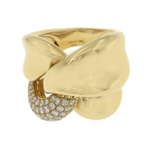 Fancy 18K Yellow Gold 1.55 CT Diamond Large Twist Ring Size 7