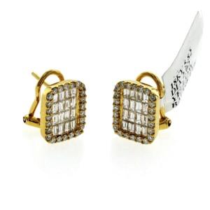Fine 18K Yellow Gold 2.02 Ct Natural Diamonds 13 mm Omega Back Earrings