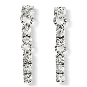 Fine 18K White Gold 7.29 Ct Natural Diamonds 26mm Dangle Earrings