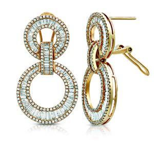 Fine 18K Rose Gold 4.34 Ct Natural Diamonds 2 Circle 34 mm Dangle Earrings
