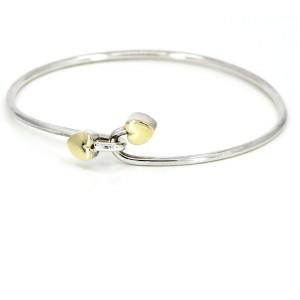 Vintage Tiffany & Co. Hearts Wire Bangle Bracelet Sterling Silve 18k Gold